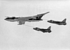 Lightning F6 fighters following XH587 Air-Air Refuelling drogues, Laverton, 1971 [Chris Wren]