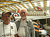 Trevor Danks and Nobby Unwin at the Friends of 138 Squadron desk [Trevor Danks]